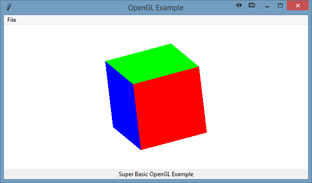 Tcl/TK app showing 3d cube in OpenGL.